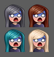 emotion icons scared female with long hairs vector image