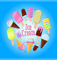 festive round frame made ice-creams with sample vector image