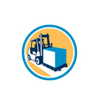 Forklift Truck Box Circle Retro vector image vector image