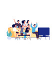 friends watching tv students party young people vector image vector image