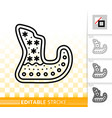 gingerbread cookie sled black line icon vector image