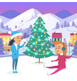 girl in snow-maiden suit and teen on icerink vector image vector image