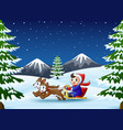 happy boy riding on a sleigh pulled by two dogs at vector image vector image