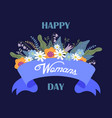 happy womans day floral hand draw design concept vector image vector image