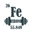 iron text and gym equipment vector image vector image