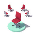 isometric low poly red office chair vector image