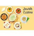 Jewish cuisine dishes icon for kosher menu design vector image vector image