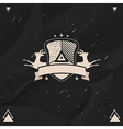 Labels and badges set in hipster style on a black vector image vector image