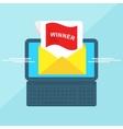laptop with envelope winner vector image vector image