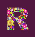 letter of beautiful flowers r vector image