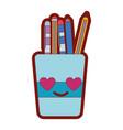line color tools cup in love kawaii cartoon vector image vector image
