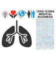 lungs icon with 1300 medical business icons vector image vector image