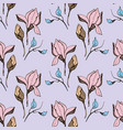 magnolia flower skecth with ink hand drawn vector image vector image