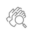 medical gloves with magnifying glass line icon vector image vector image