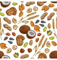 Nuts grains seeds seamless pattern vector image vector image