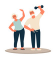 older couple granny and grandpa working out vector image