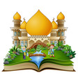 open book with happy muslim boy and girl cartoon h vector image vector image