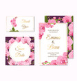 orchid phalaenopsis wedding cards template set vector image