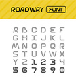Roadway font Drive way path style letters set vector image