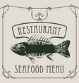 seafood restaurant menu with big fish vector image vector image