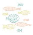 set of cute sea fish vector image vector image