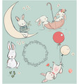 set with cute hares vector image