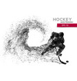 silhouette of a hockey player from particles vector image vector image