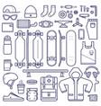 skateboard equipment line set vector image vector image