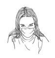 sketch preteen girl portrait in medical face vector image vector image