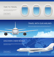 sky airplane tourism banners civil aviation vector image vector image