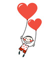 Smiling boy with heart shaped balloons vector image vector image