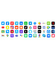 social media logotype and app icon collection vector image vector image