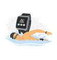 swimming - modern colorful cartoon vector image