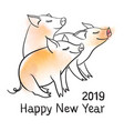 three piglets template for greeting card black vector image