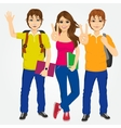 three students making victory sign vector image