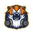 tiger with headphones mascot logo design vector image vector image