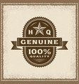 vintage genuine 100 percent quality label vector image vector image