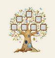 watercolor tree house with frames vector image