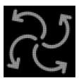 white halftone turbine rotation icon vector image