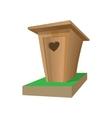 Wooden toilet cartoon icon vector image vector image