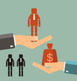 recruitment concept businessman buying worker vector image