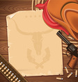 Wild west background with cowboy hat and revolver vector image