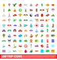 100 trip icons set cartoon style vector image vector image