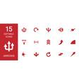 15 arrows icons vector image vector image