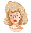 A head of a pretty lady with an eyeglass vector image vector image