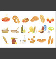 bakery and pastry products icons set with various vector image vector image