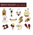 Beach holiday colored icons vector image vector image