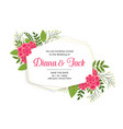 beautiful wedding card invitation with flower vector image vector image