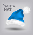 blue santa hat snow clothing celebration vector image