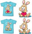 blue shirt with cute bunny vector image vector image